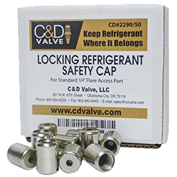 C U0026d Valve 410a Refrigerant Supco 1  4 U0026quot  Locking Caps 50 Pack