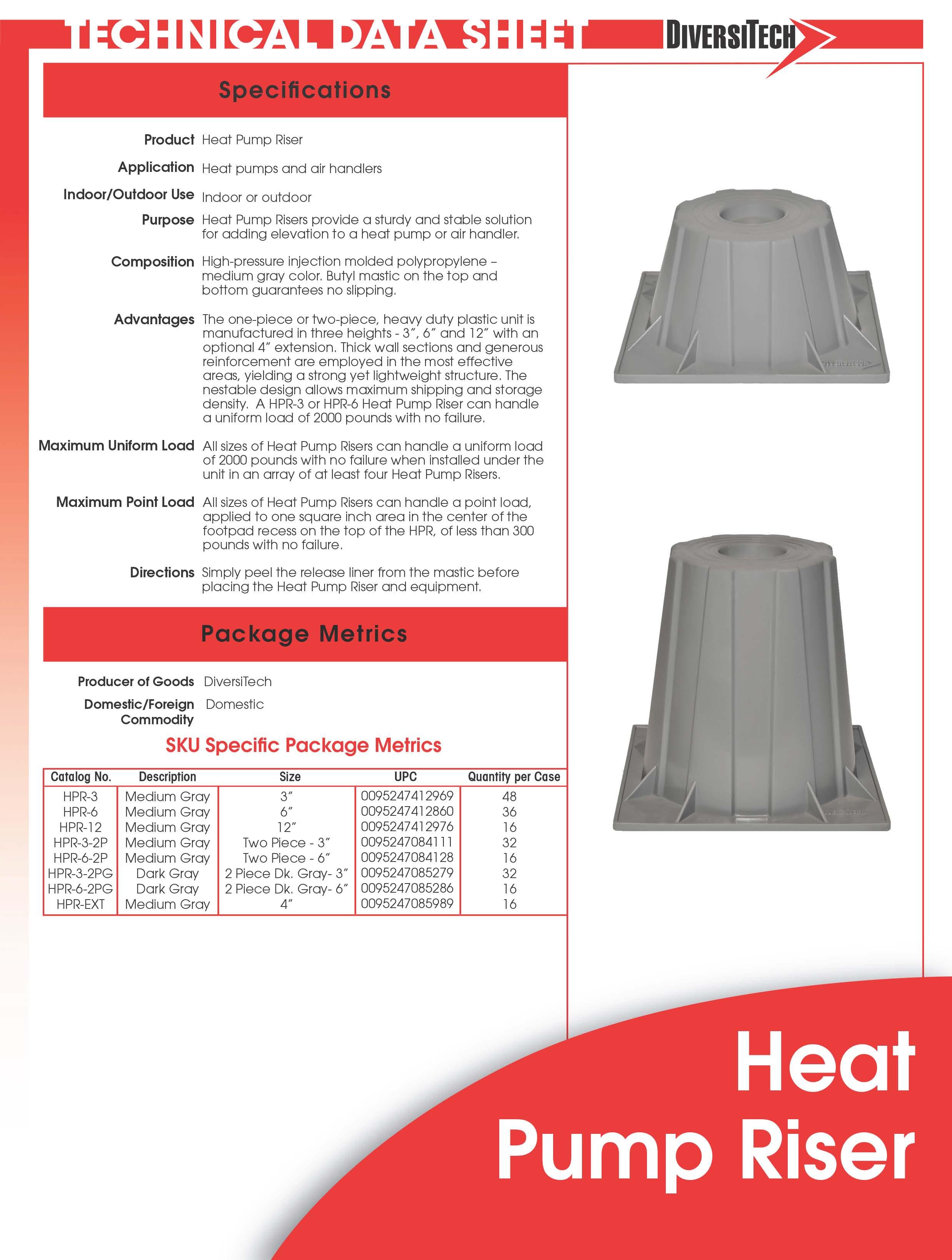 6 Quot Condenser Heat Pump Riser Elevator Stands Hpr 6 4 Pack