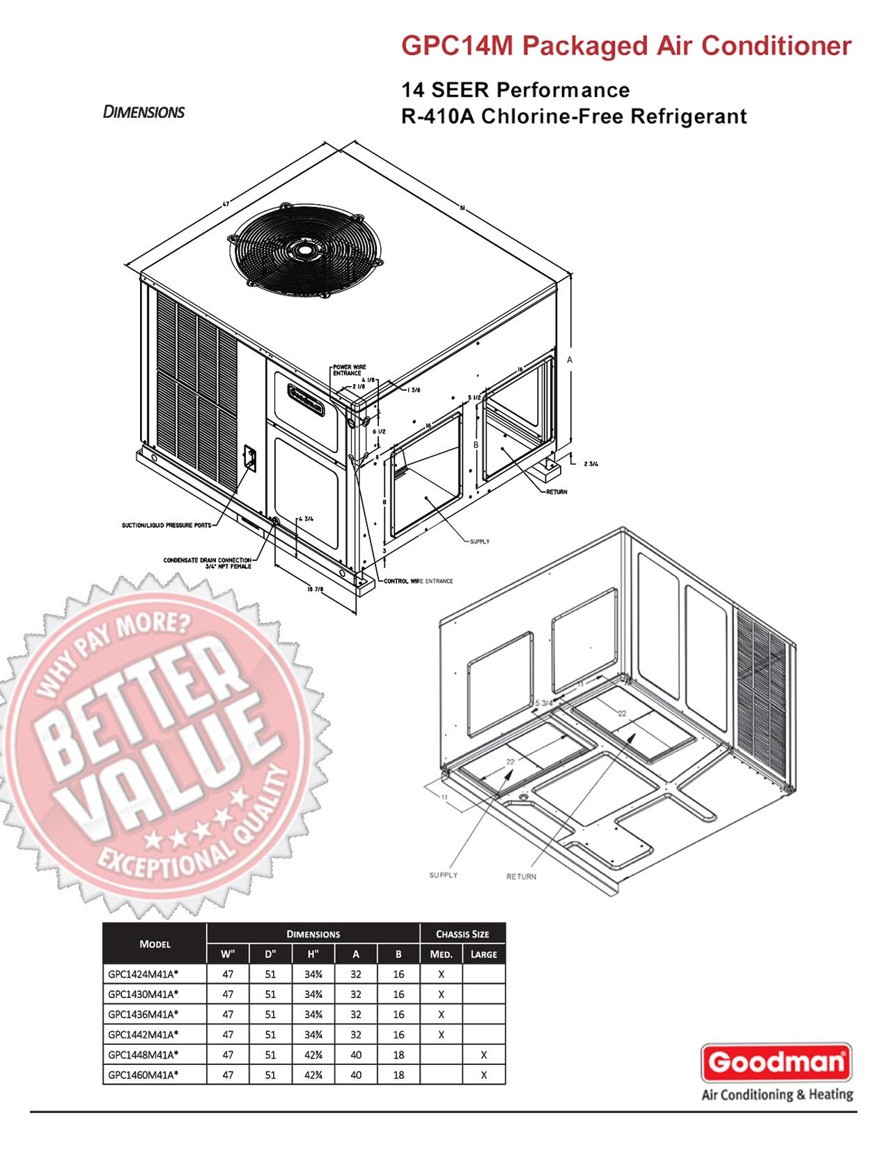 3 5 ton goodman 14 seer r 410a down flow or horizontal. Black Bedroom Furniture Sets. Home Design Ideas