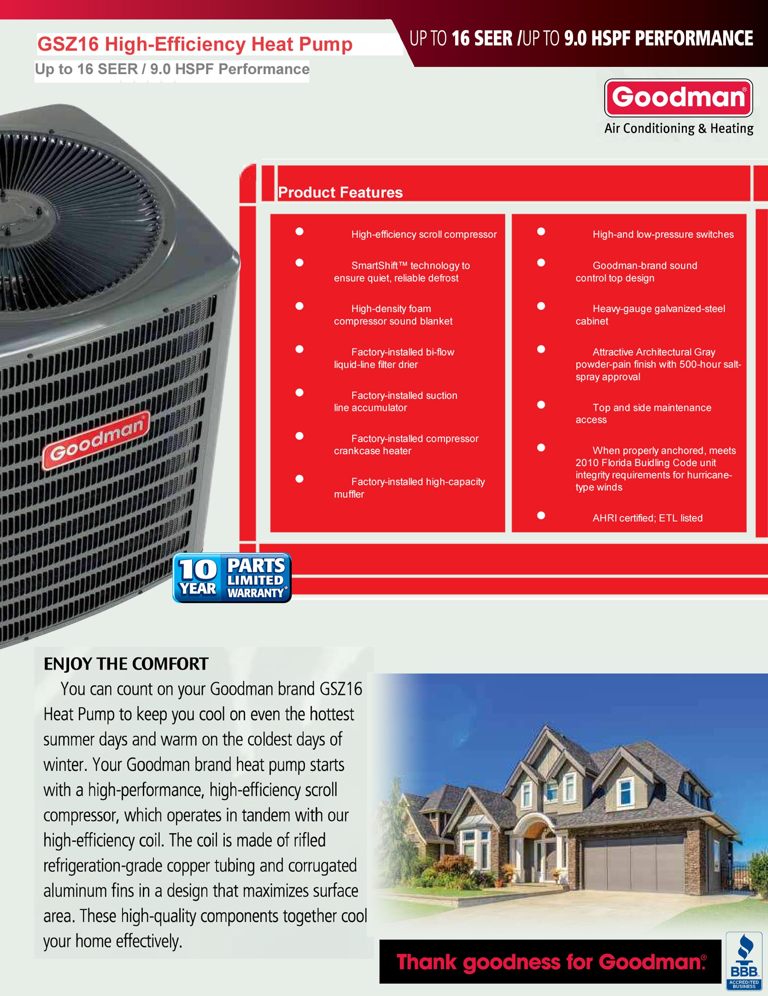 2 5 Ton Goodman 16 Seer R 410a Heat Pump Condenser Gsz160301
