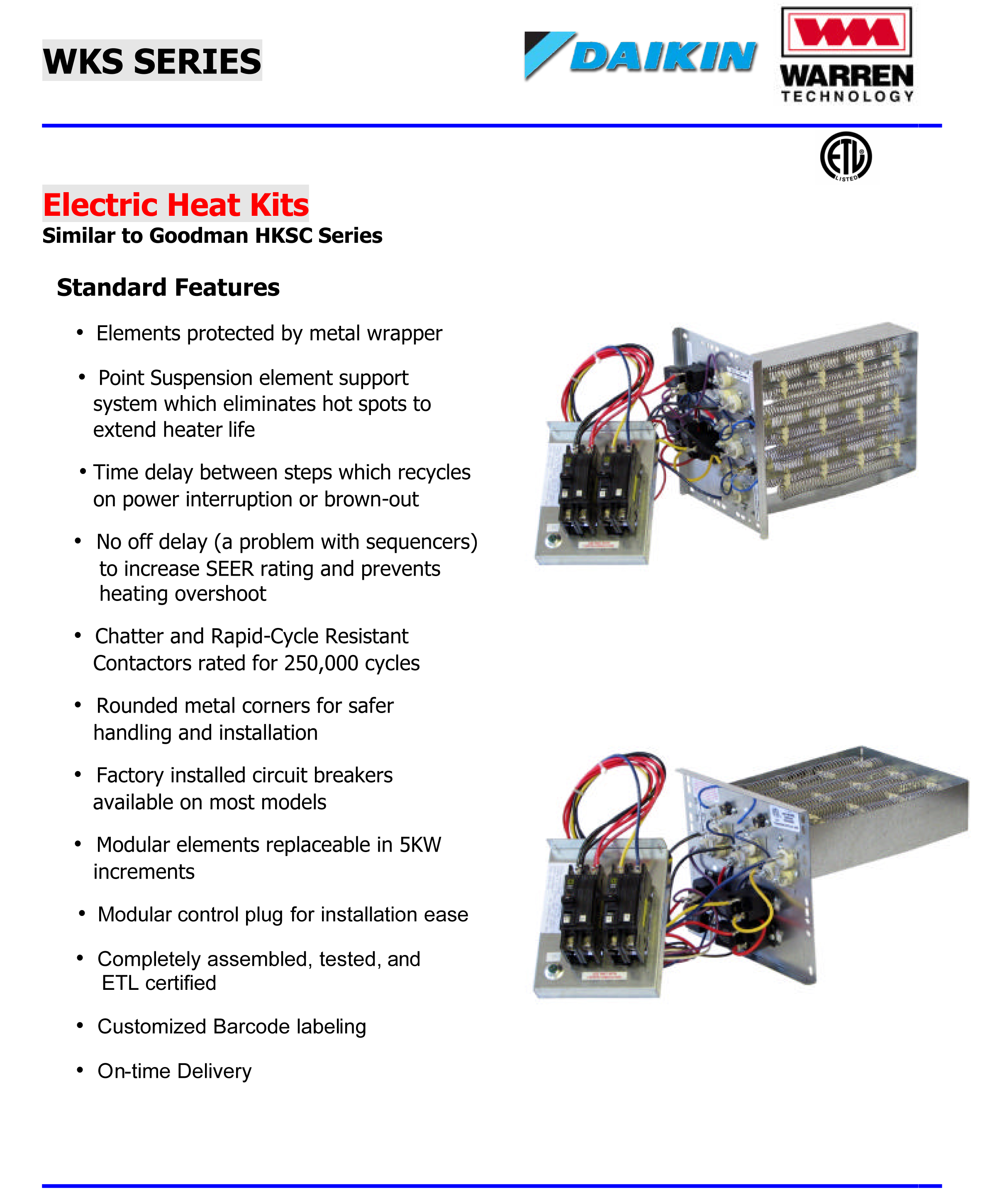 10 KW    heat       strip    for DaikinGoodman mercial ARUF air handler units 208V 3 phase WKS1004