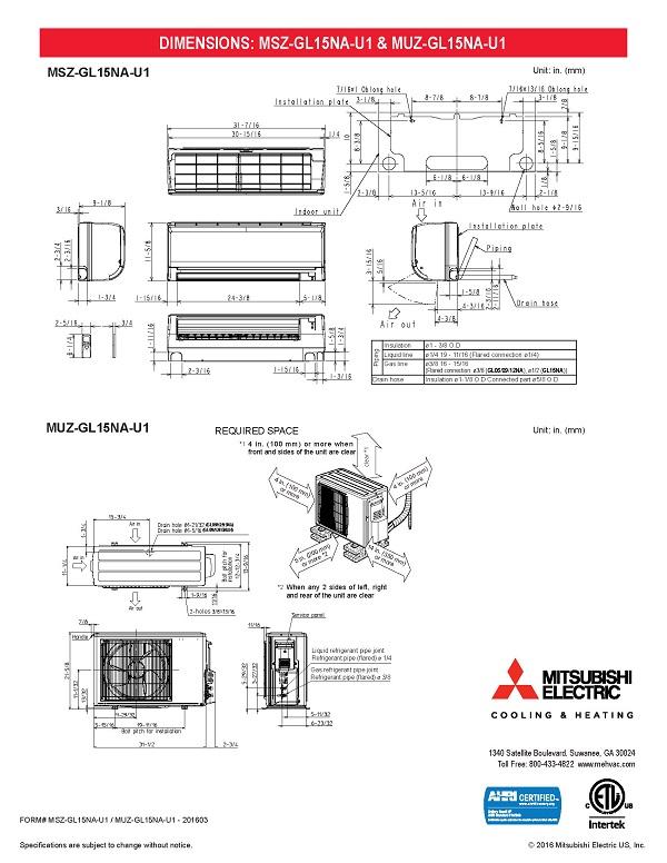 Mini Split 15 000 Btu Mitsubishi 21 6 Seer Heat Pump System Muzgl15nau1  Mszgl15nau1  Includes