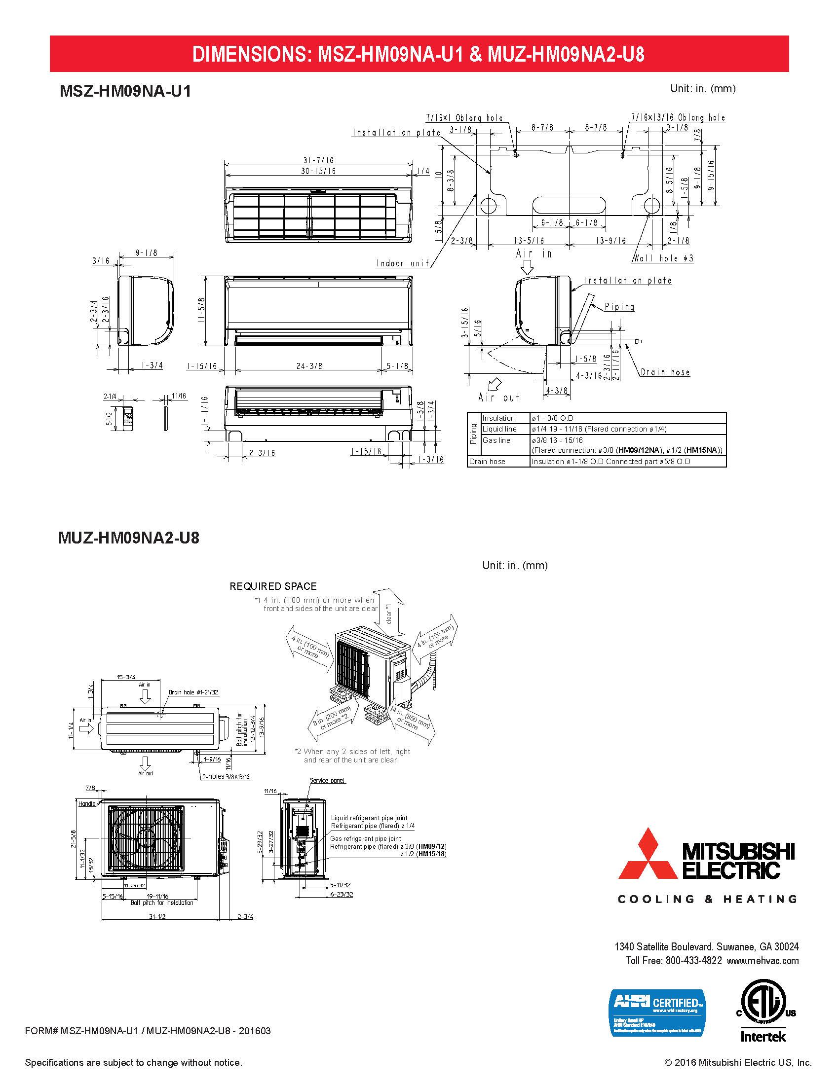 Mini Split 9 000 Btu Mitsubishi 18 Seer H2i Heat Pump