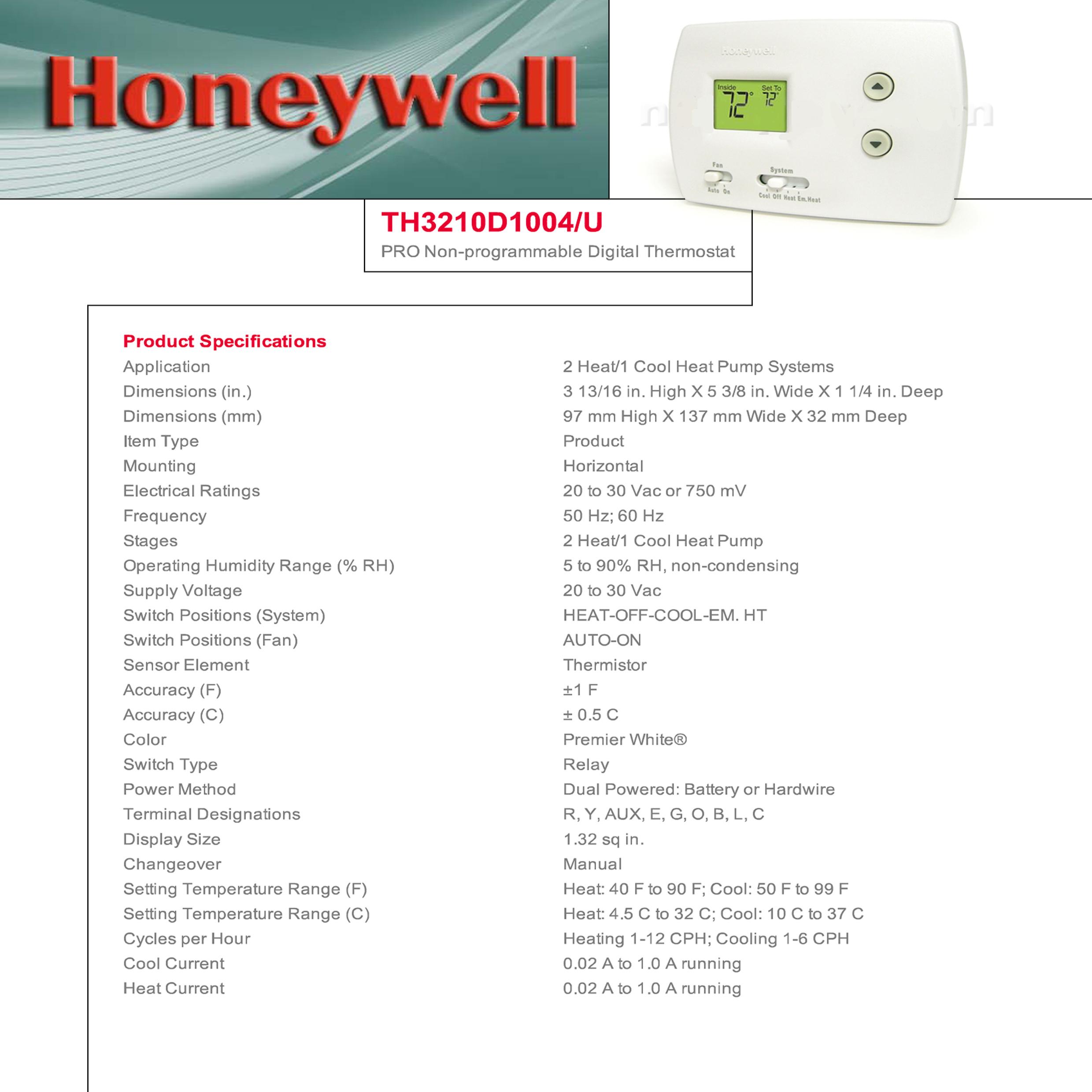 Honeywell Non-Programmable Heat Pump 2 Heat / 1 Cool Pro