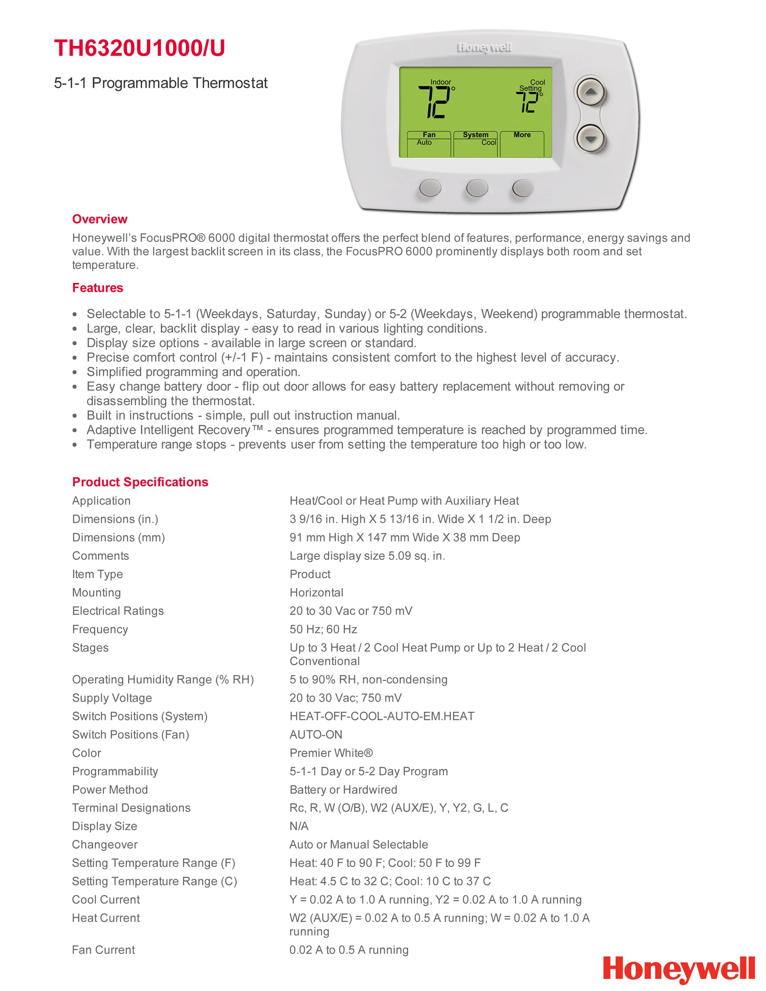 Honeywell Pro 6000 Thermostat 3h  2c Programmable Th6320u1000