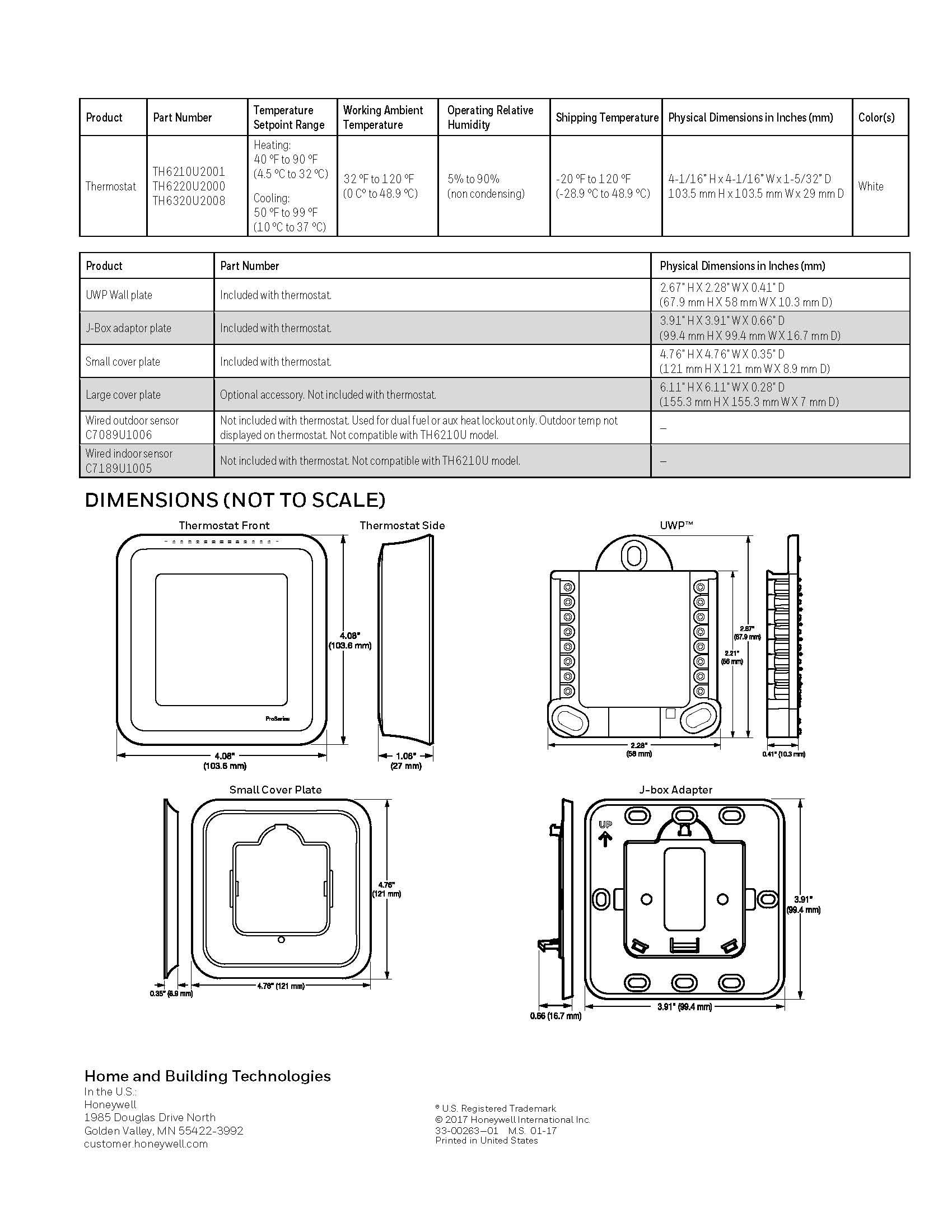 honeywell t6 pro thermostat 2h  1c programmable th6210u2001