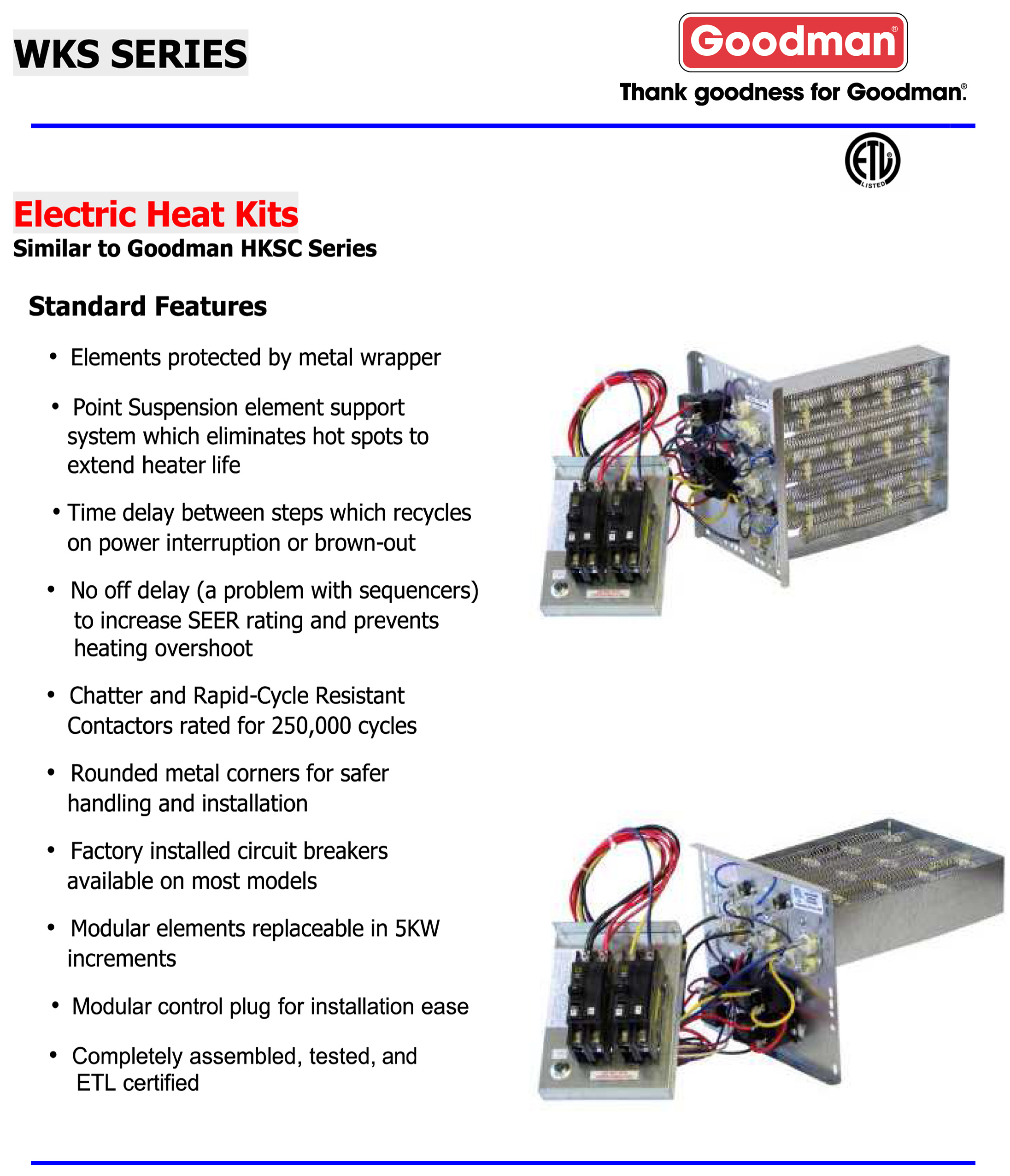 WKS BROCHURE 15 kw breakered heat strip for goodman aruf, avptc, arpt, aspt heat strip wiring diagram at bakdesigns.co