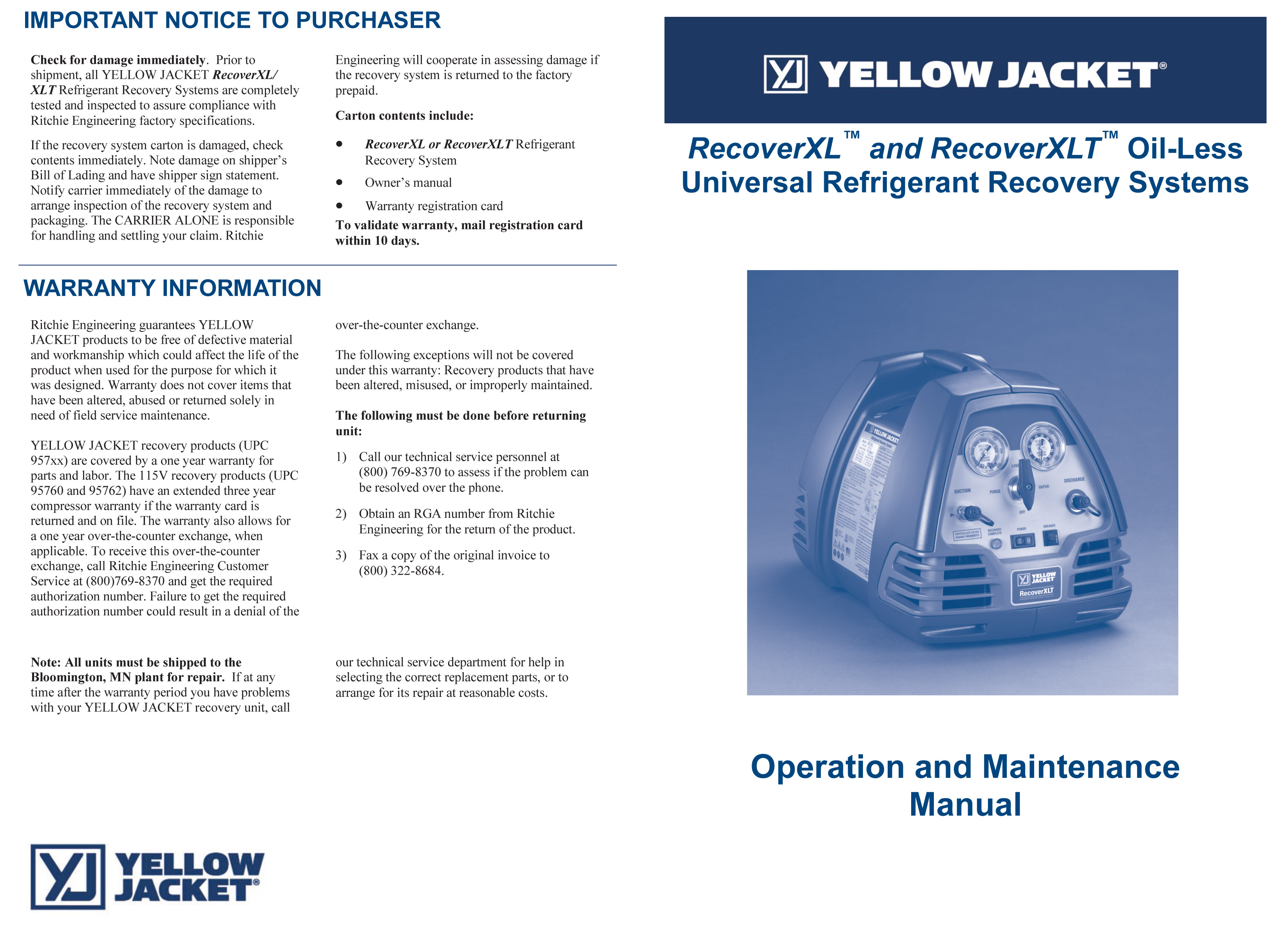 Yellow Jacket Fan Motor Wiring Diagram Diagrams Furnace Refrigerant Recovery System 95760 Electric