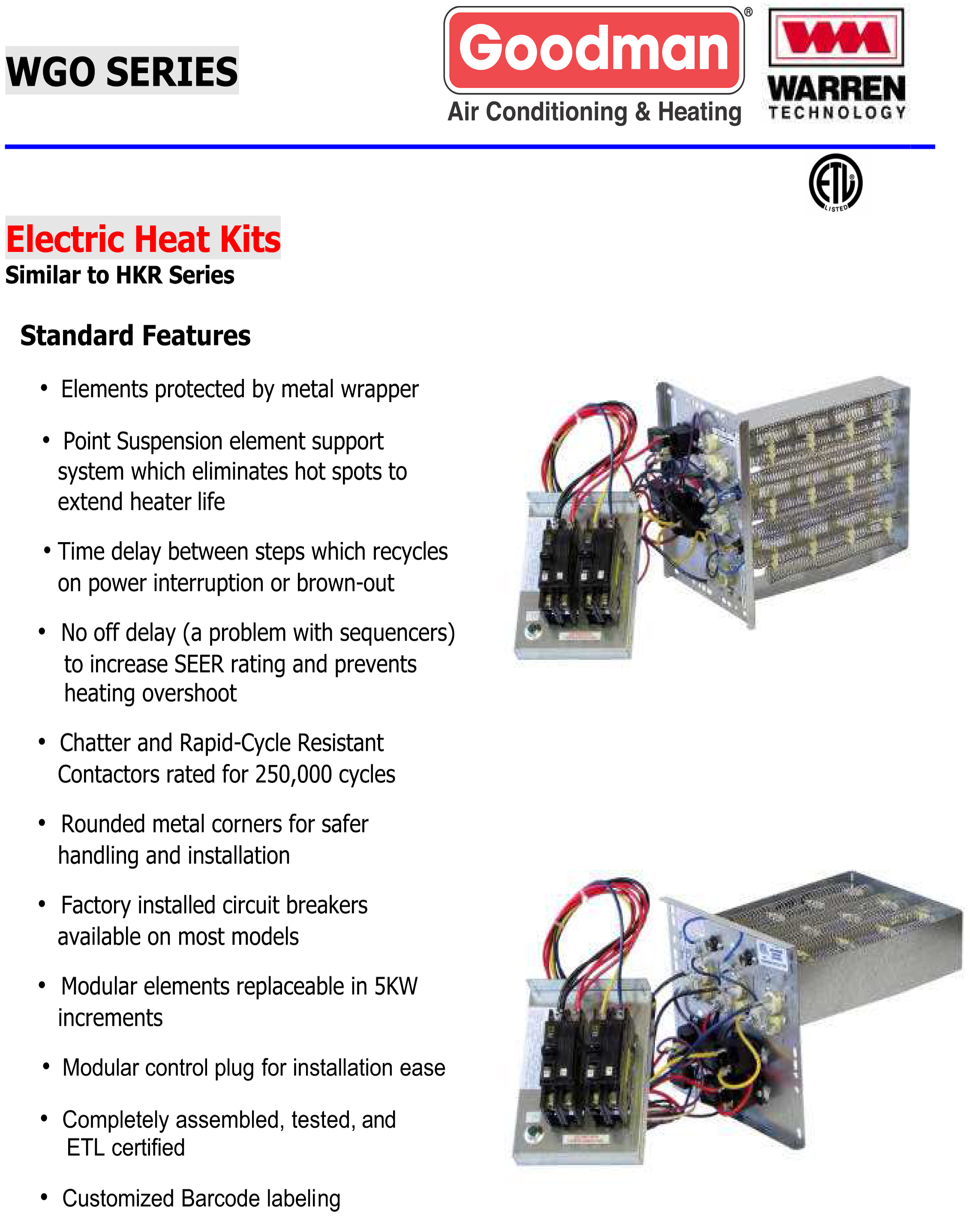 goodman wgo brochure 15 kw heat strip for goodman units ar, aer, adp, arp, aspf, aep goodman package unit wiring diagram at crackthecode.co