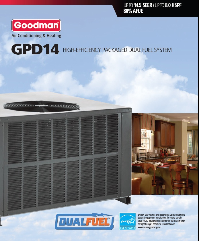 2 5 Ton Goodman 14 Seer 90k Btu Heat Pump Gas Package Unit