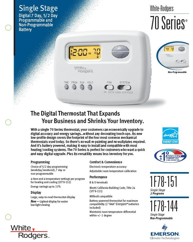 Wiring Diagram For White Rodgers Thermostat Model 1f78 : Thermostat white rodgers programmable heat pump or gas