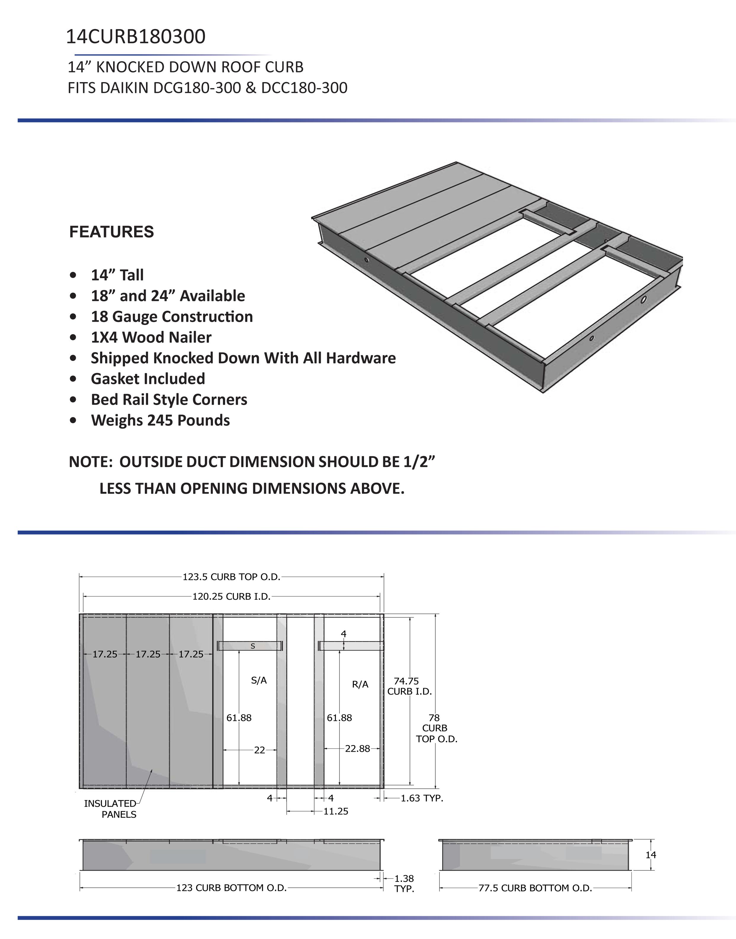 15 25 ton daikin 14 roof curb dcc dcg models 14curb180300 rh budgetheating com Air-Handler Wiring Diagram 2 Ton Mini Split Wiring-Diagram
