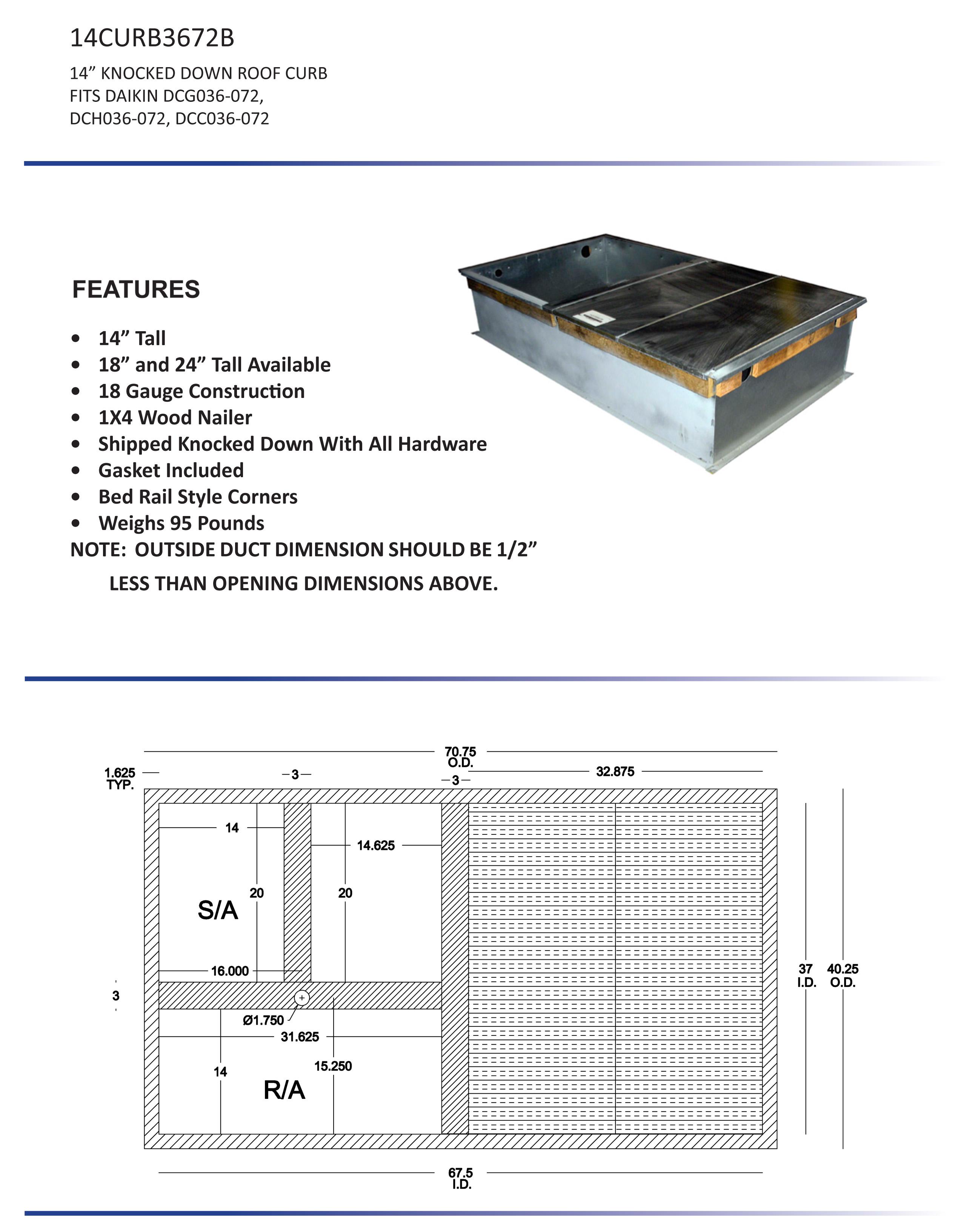 3 6 ton daikin 14 roof curb dcc dcg dch models 14curb3672b rh budgetheating com Window Air Conditioner Wiring Diagram Goodman Air Conditioner Wiring Diagram