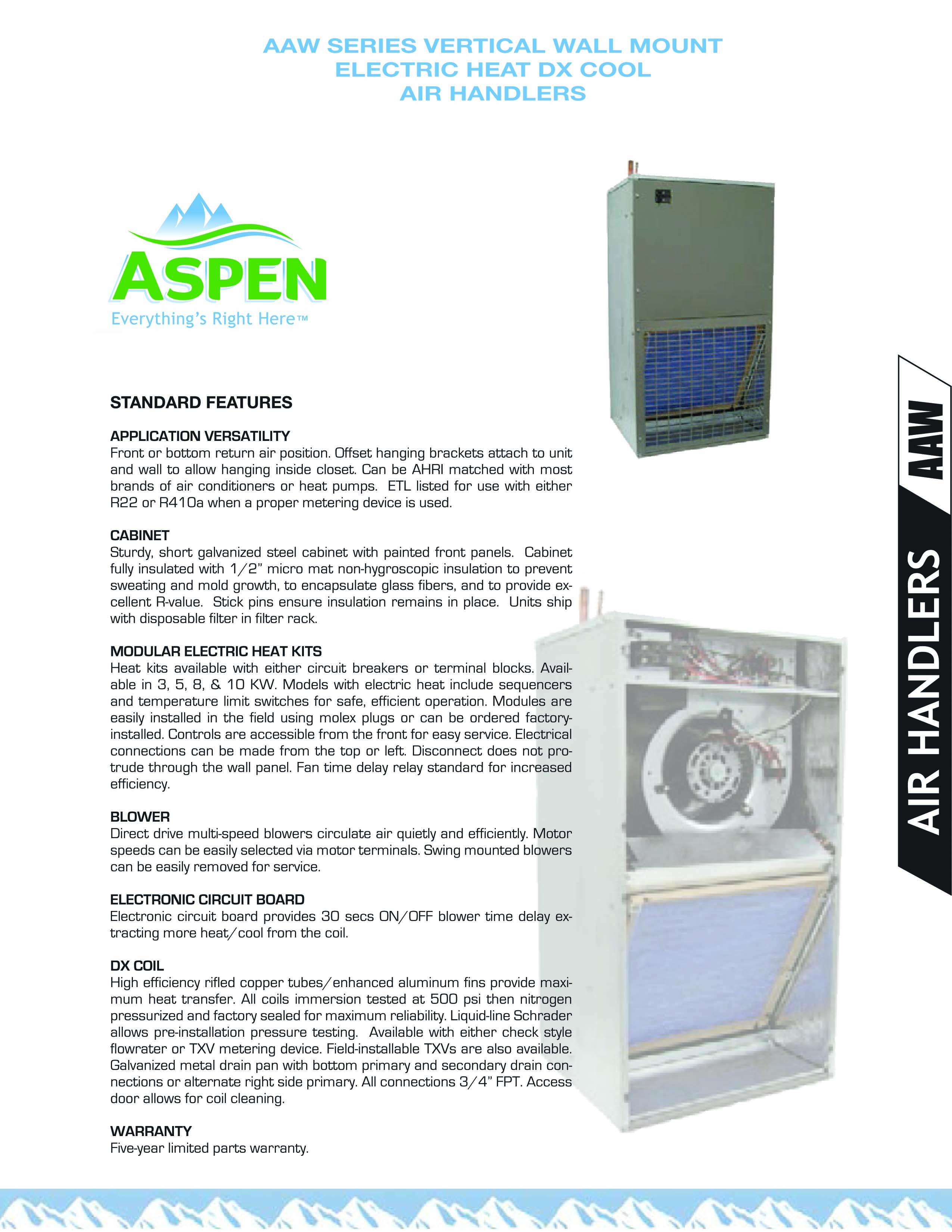 2 0 Ton Aspen Air Handler 5kw Heater Aaw244000fcs05