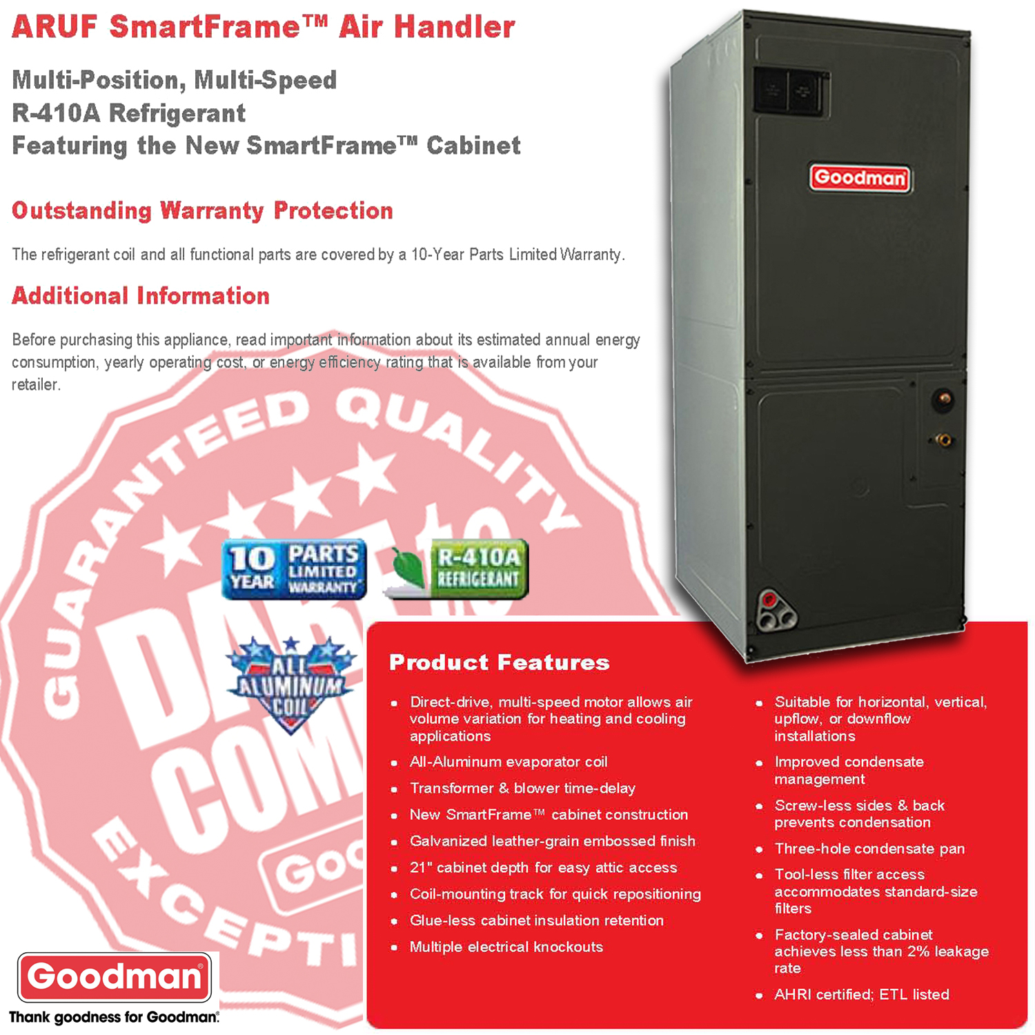 ARUF SMART BROCHURE 2 3 0 ton goodman smartframe central indoor air handler aruf37c14 aruf wiring diagram at gsmportal.co