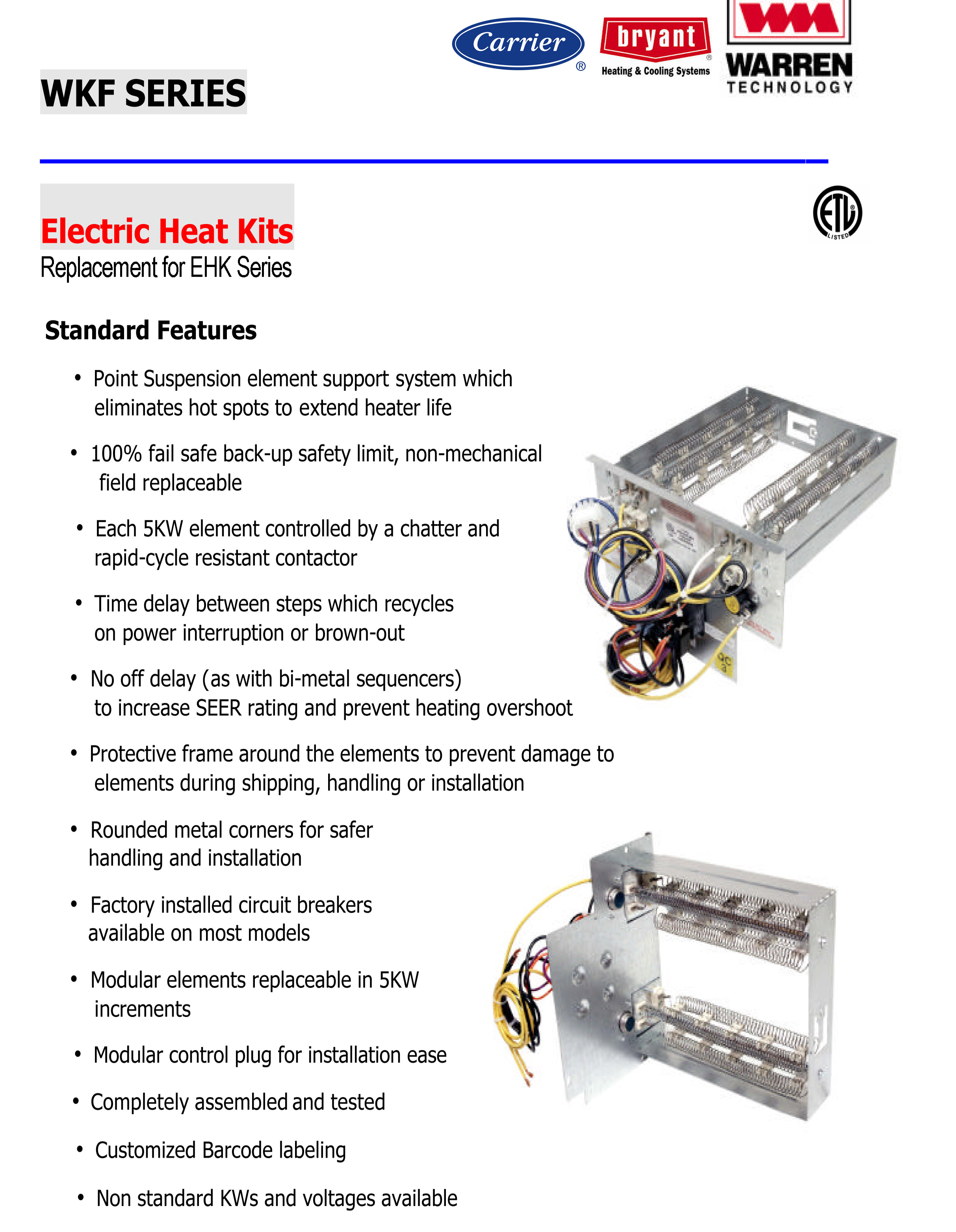 15 kw heat for carrier bryant payne air handlers click for models wkf1502