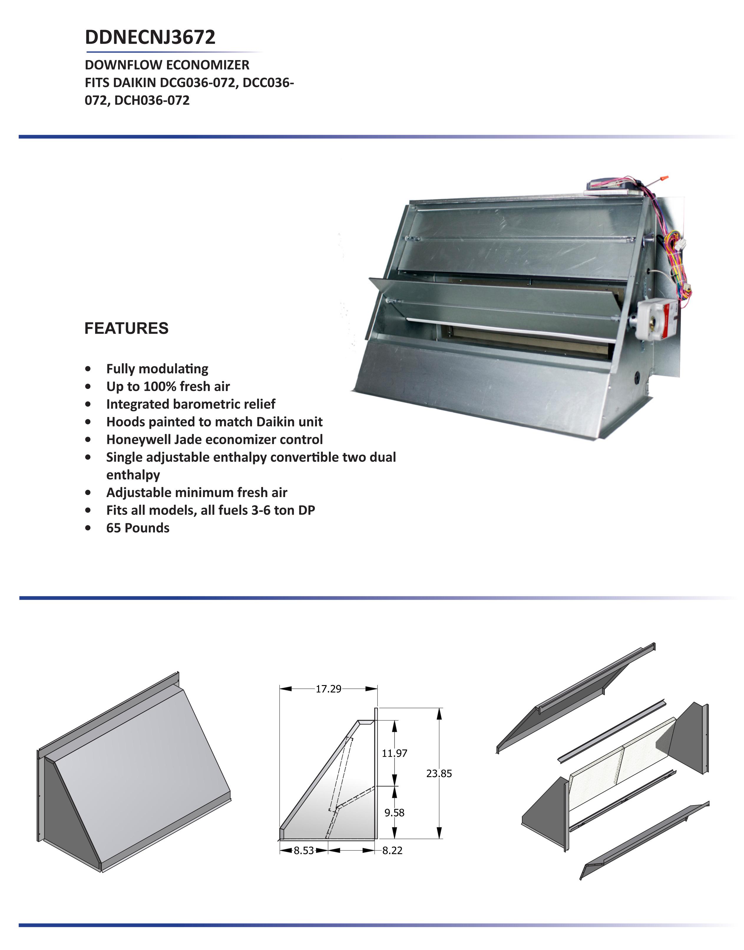 3 6 ton daikin downflow economizer dcc dcg dch models ddnecnj3672 rh budgetheating com Goodman Air Conditioner Wiring Diagram Residential Electrical Wiring Diagrams