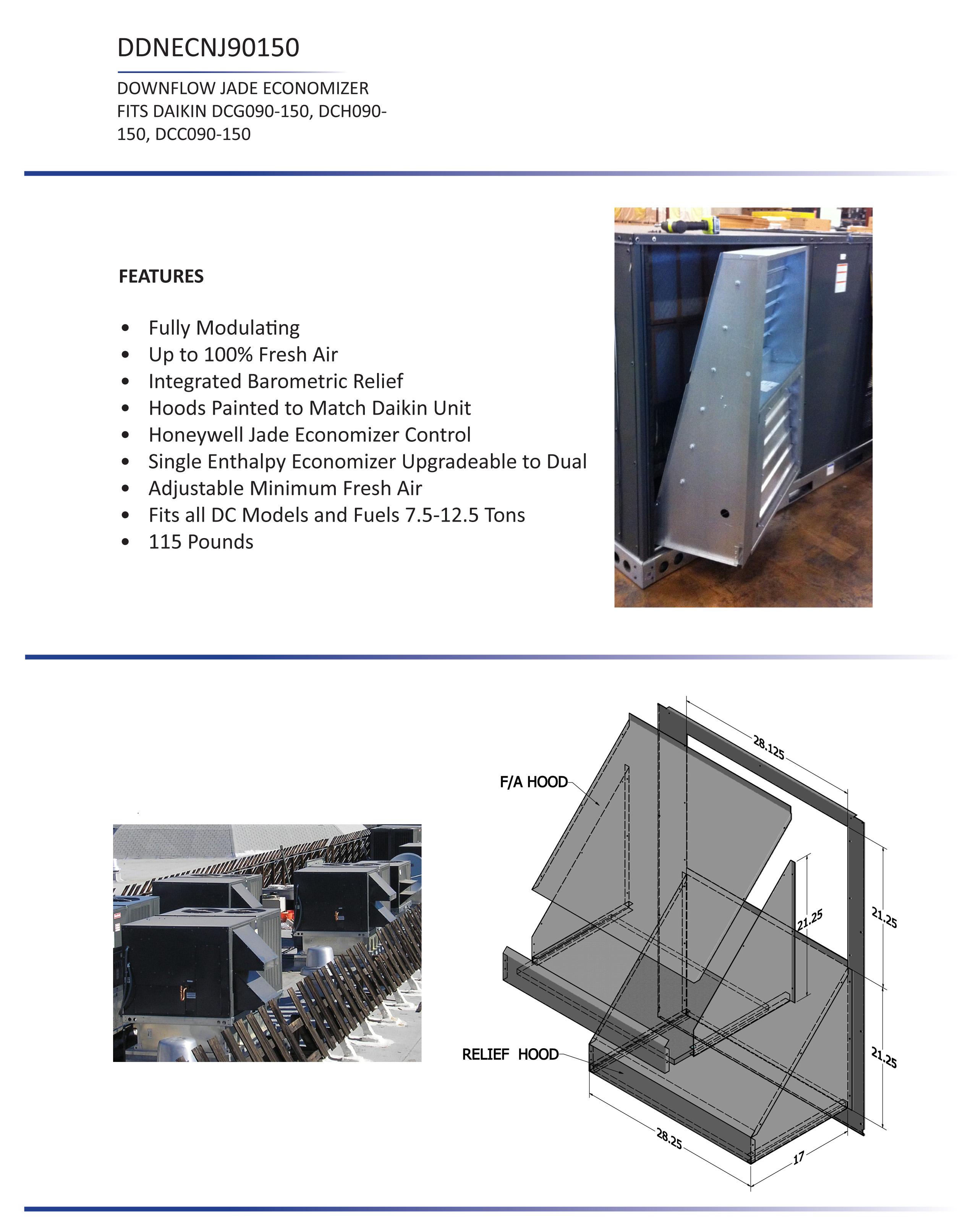 7 5 12 5 Ton Daikin Downflow Economizer Dcc Dcg Dch