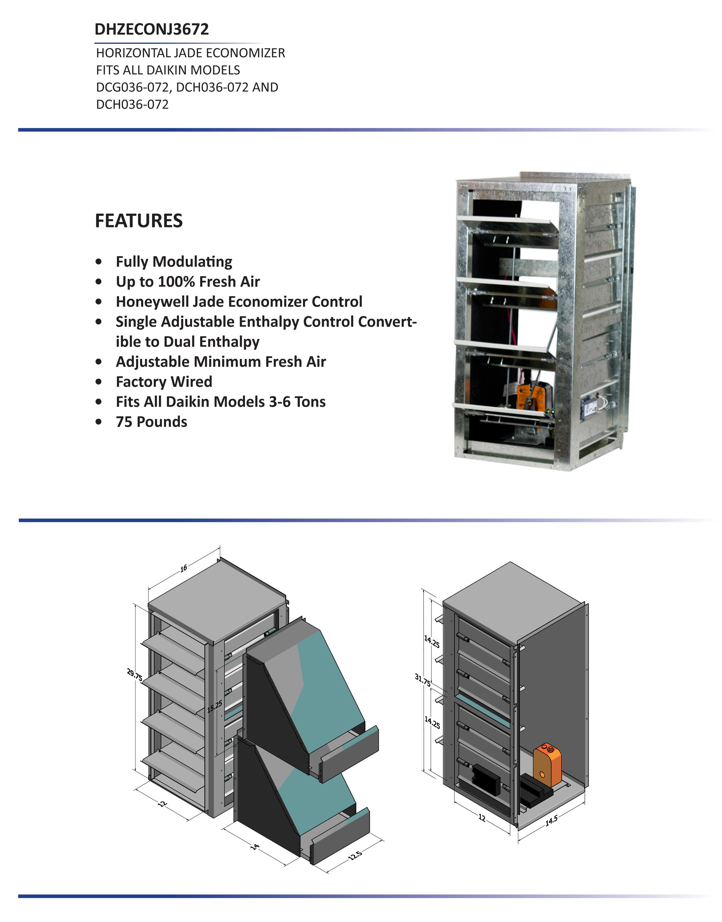 3 6 Ton Daikin Horizontal Economizer Dcc Dcg Dch Models Dhzecnj3672 Honeywell Wiring Diagram Dcc036 072 Dcg036 Dch036