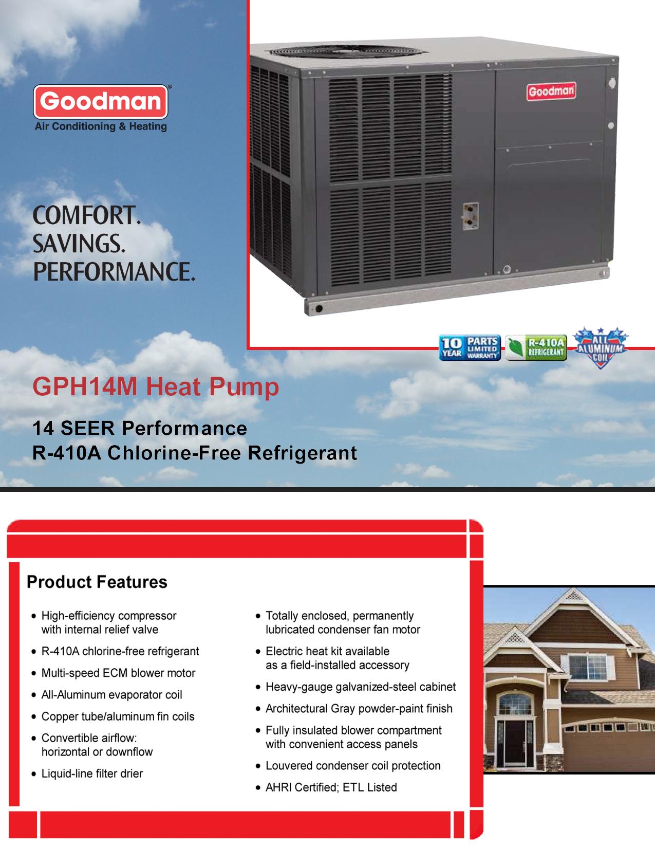 2 5 ton goodman 14 seer heat pump r 410a down flow or. Black Bedroom Furniture Sets. Home Design Ideas
