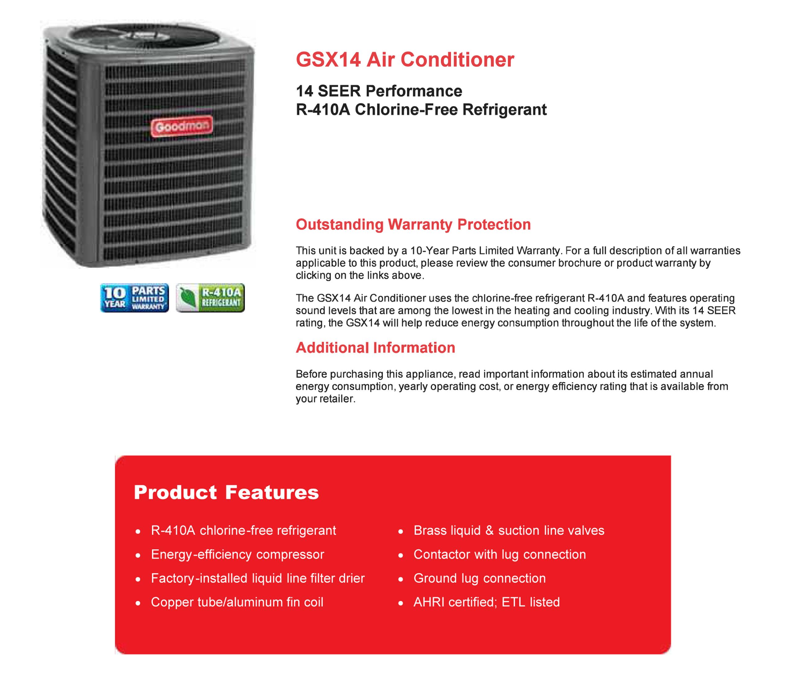 4 0 Ton Goodman 14 Seer R 410a Condenser Gsx140481