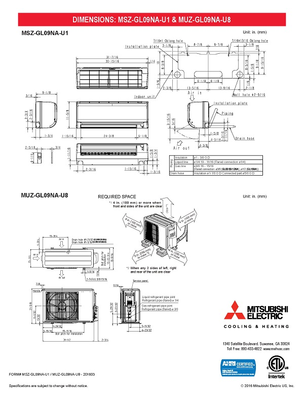 hss coil split wiring diagram mini split 9,000 btu mitsubishi 24.6 seer heat pump system ...