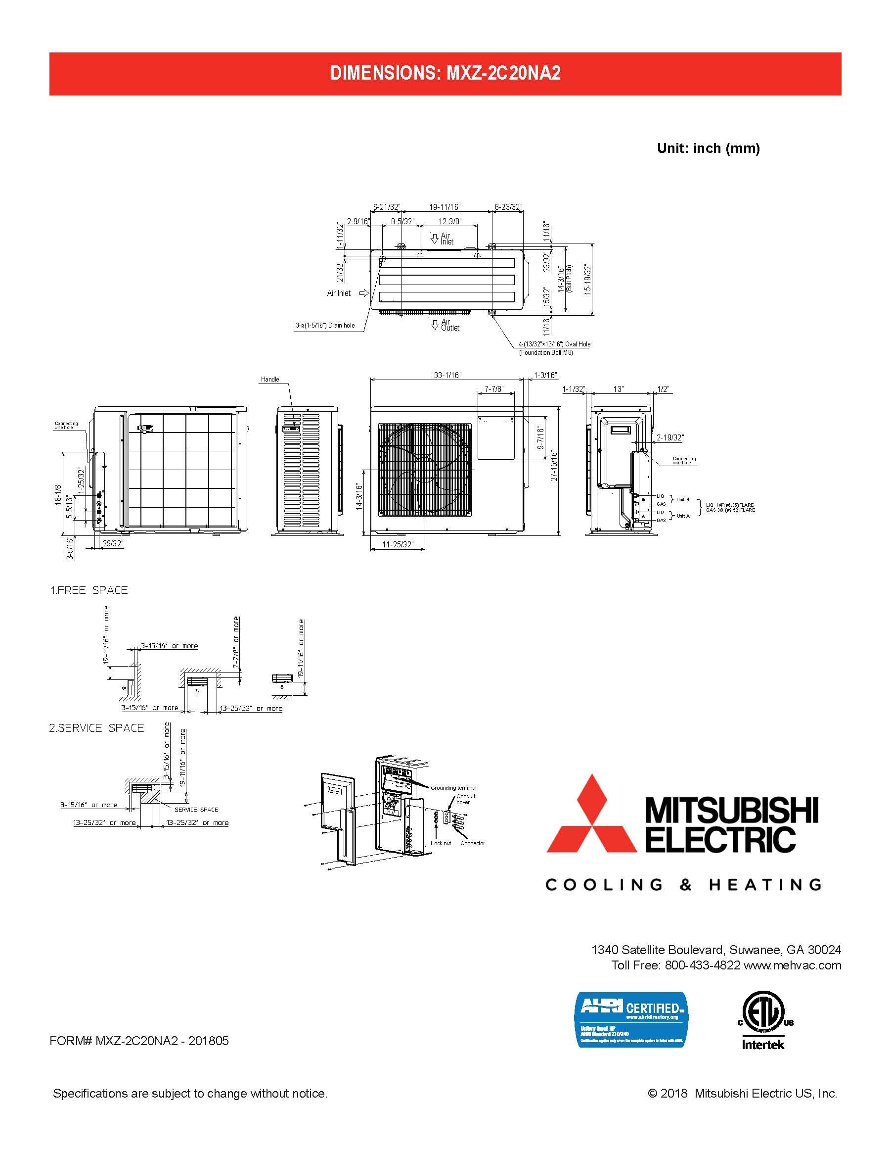 Mini Split Dual Zone Mitsubishi up to 18 SEER heat pump ...