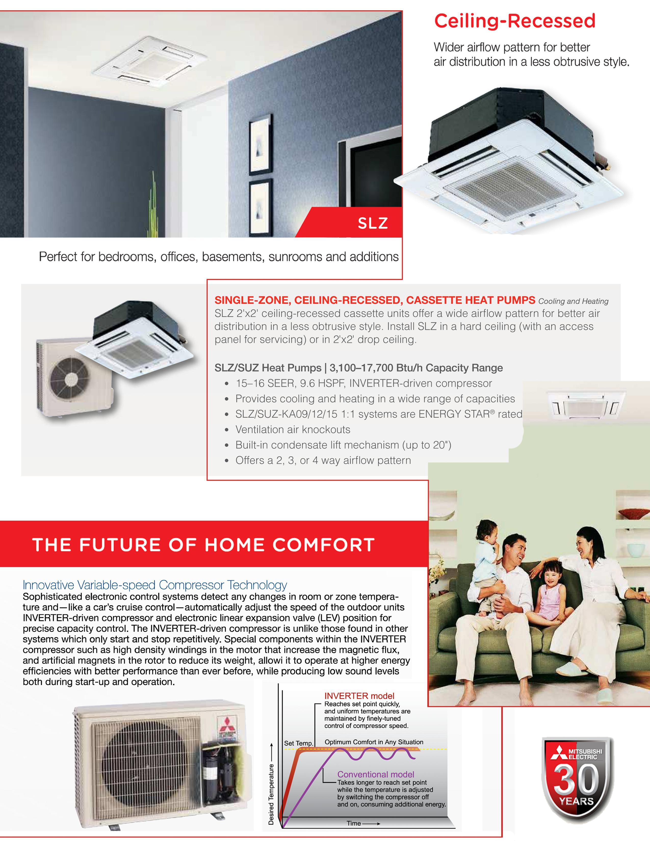 Mini Split 9 000 Btu Mitsubishi 15 Seer Ceiling Cassette