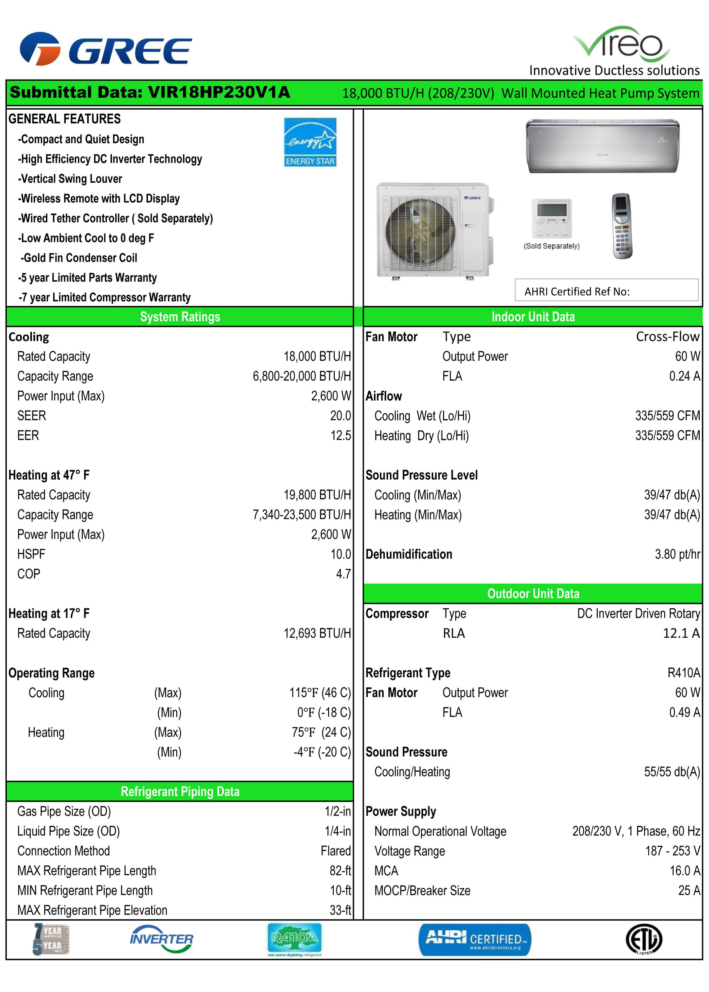 Mini Split 18 000 Btu Gree Vireo 20 Seer Heat Pump System