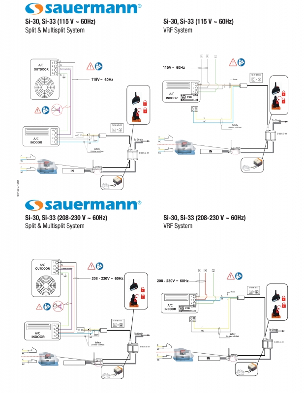 Wiring Diagram Si 30 mini split condensate removal pump 230 volt Sauermann Si 30 Installation Manual at gsmx.co