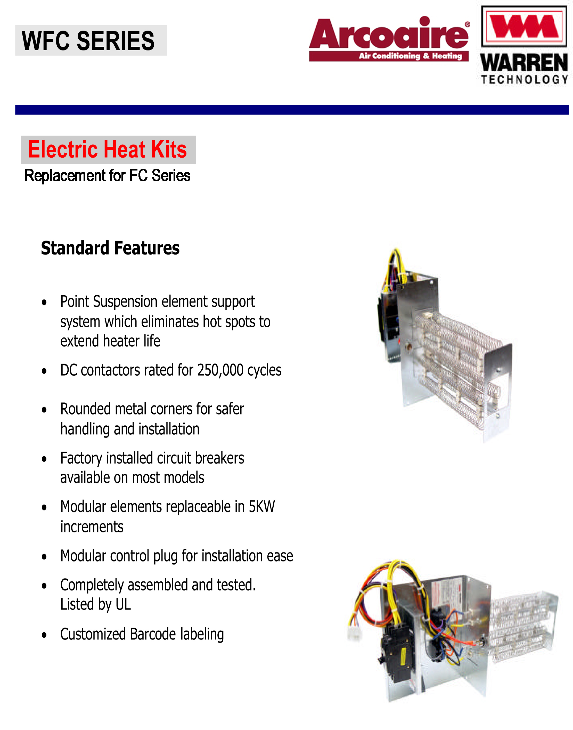 arcoaire wfc brochure copy 15 kw breakered heat strip for arcoaire air handlers fcv, fcp, fcx air ease heat pump wiring diagram at fashall.co