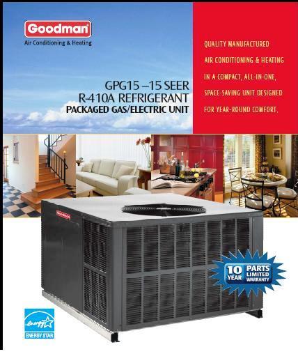 3 5 ton goodman 15 seer gas package unit gpg154211541aa ebay. Black Bedroom Furniture Sets. Home Design Ideas