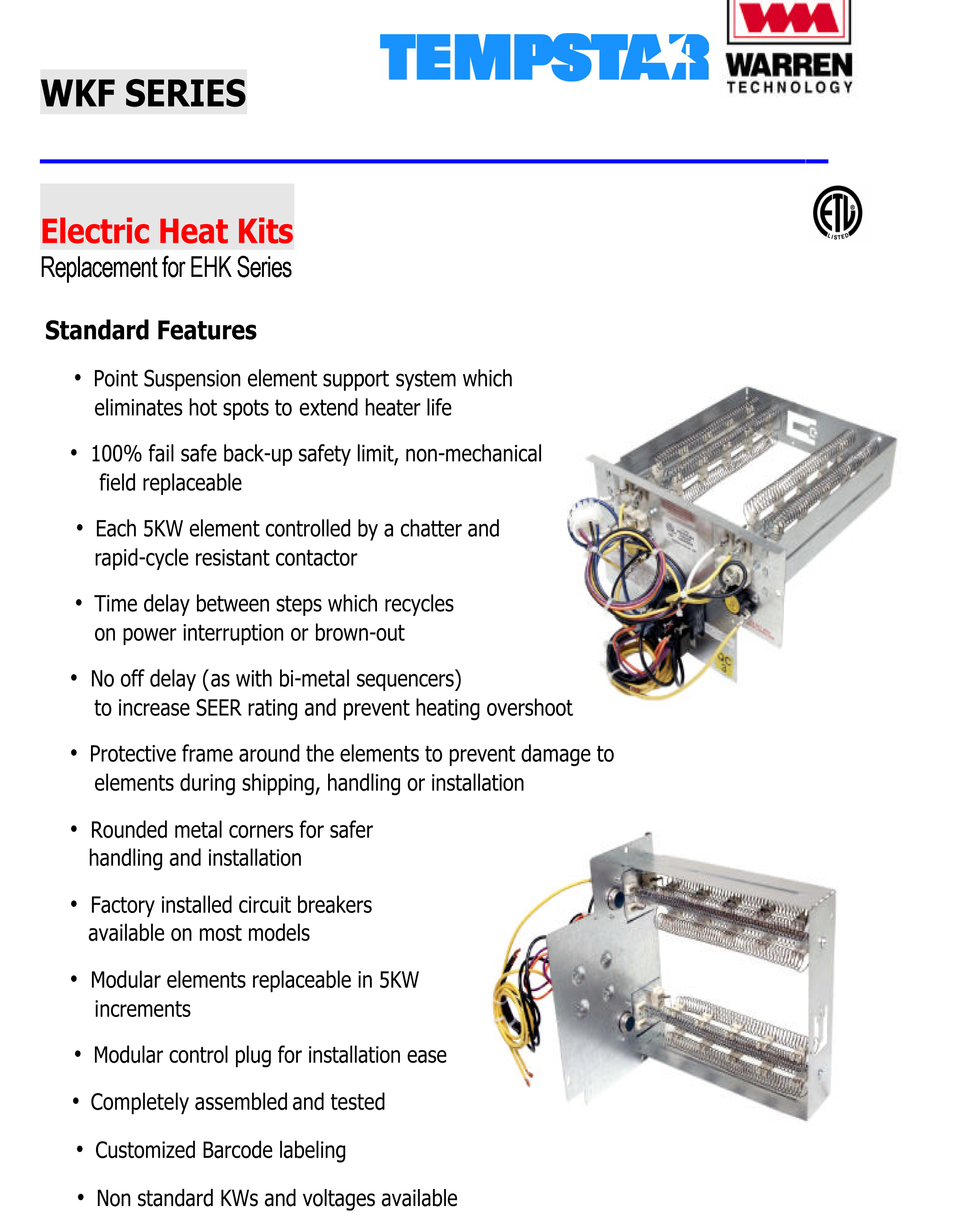 tempstar wkf brochure 10 kw heat strip for tempstar air handlers eb(p x v), wa, fe, fs electric heat strip wiring diagram at reclaimingppi.co