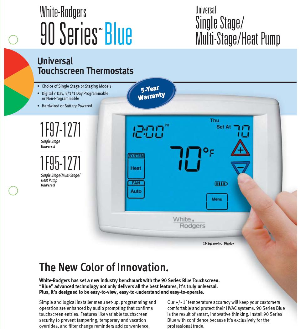 white rblue white rodgers programmable touch screen heat pump 3 heat 2 cool white rodgers 1f95-1277 wiring diagram at sewacar.co