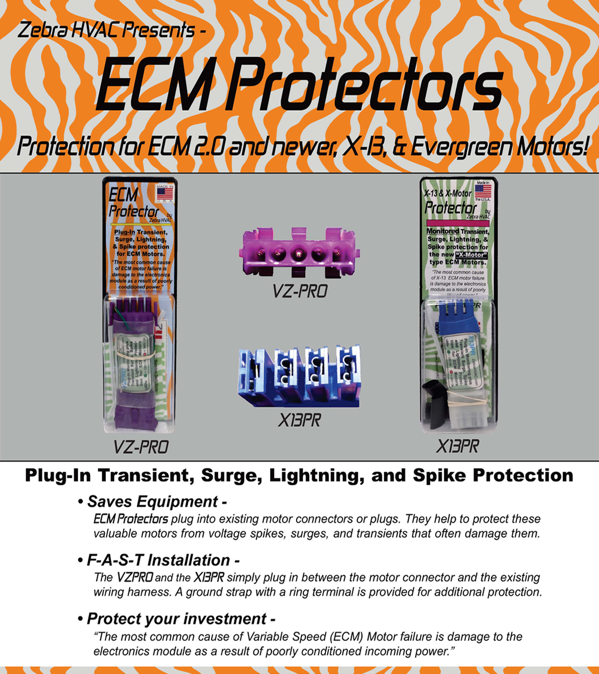 VZPRO Zebra Instruments ECM Motor Surge Protection 120v or 240v for sale online